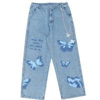 Baggy Jeans with Custom Butterfly Print and Pocket Chain