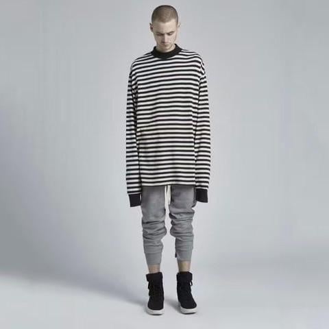 Simple Striped Crew Neck Longsleeve T-Shirt - CLOUT COLLECTION