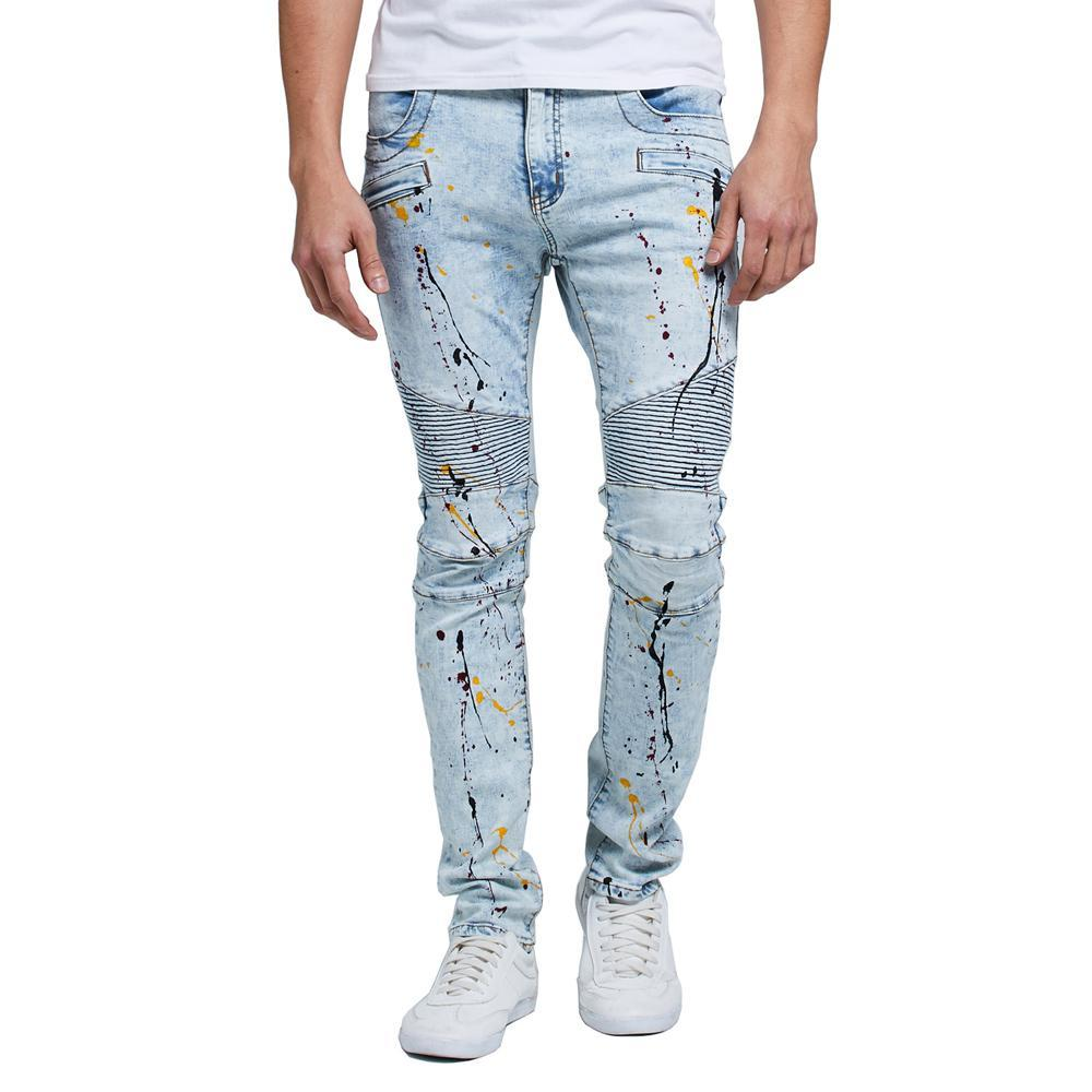 Stretch Denim Biker Jeans with Paint Splatter - CLOUT COLLECTION
