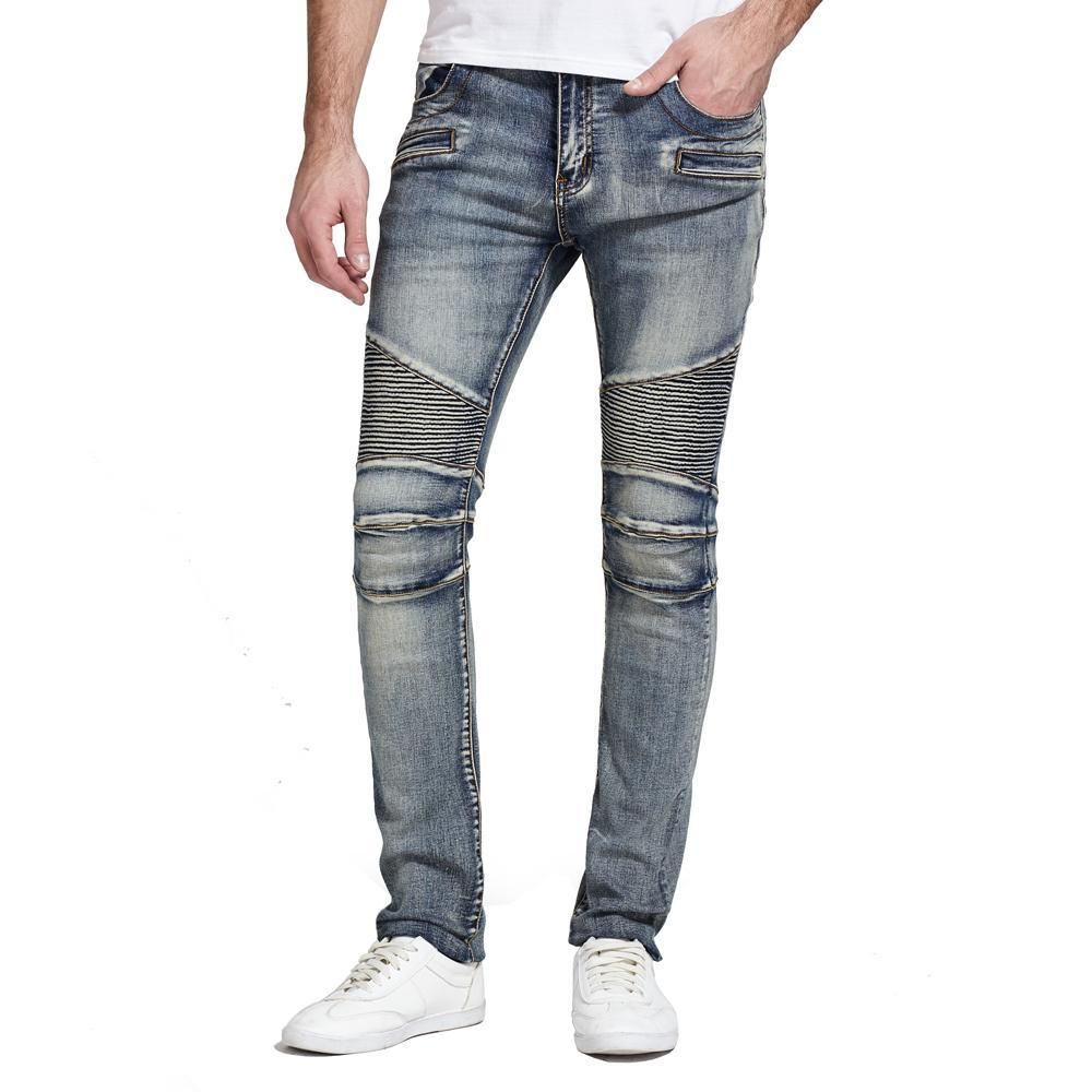 Stretch Denim Biker Jeans with Paint Splatter - Clout Collection High Fashion Streetwear Men's and Women's