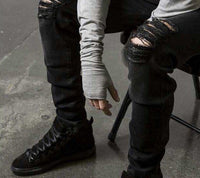 Men's Black Ripped Jeans Slim Fit - CLOUT COLLECTION