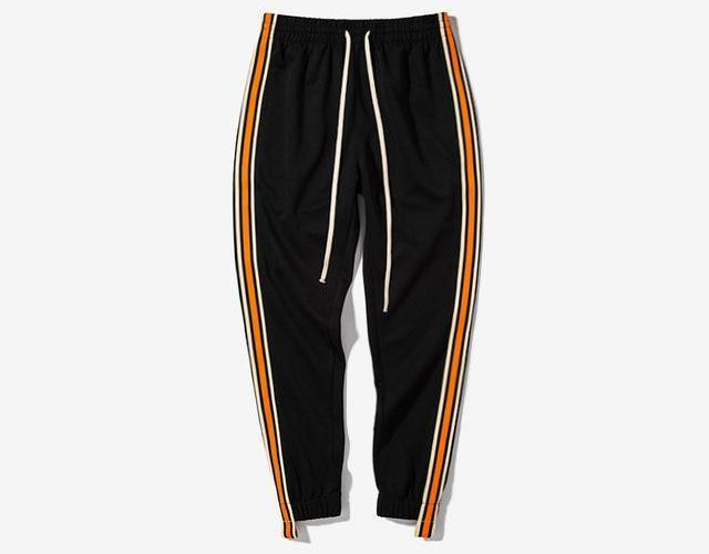 Orange Striped Casual Joggers - Clout Collection High Fashion Streetwear Men's and Women's
