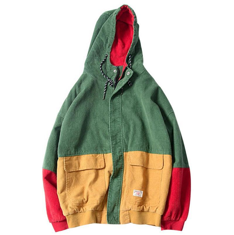 Block Patchwork Corduroy Hooded Jacket - CLOUT COLLECTION