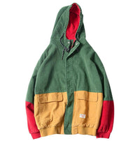 Block Patchwork Corduroy Hooded Jacket - Clout Collection High Fashion Streetwear Men's and Women's