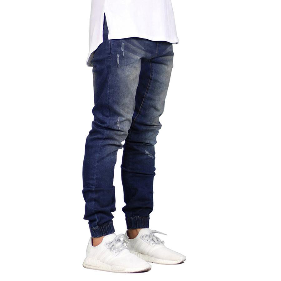 Men's Stretch Denim Joggers Dark Blue - CLOUT COLLECTION