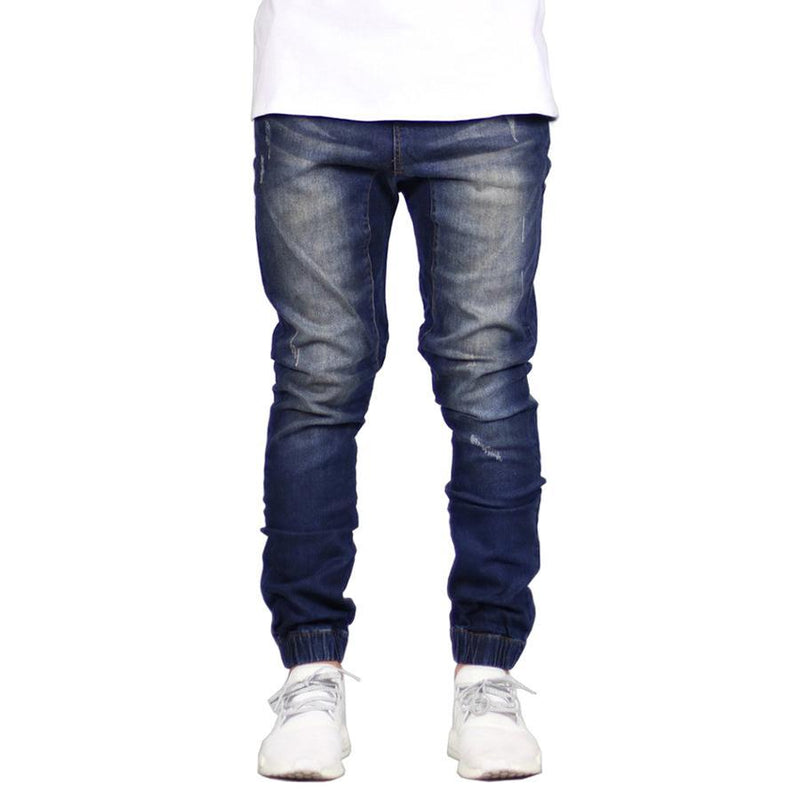 Men's Stretch Denim Joggers Dark Blue - Clout Collection High Fashion Streetwear Men's and Women's