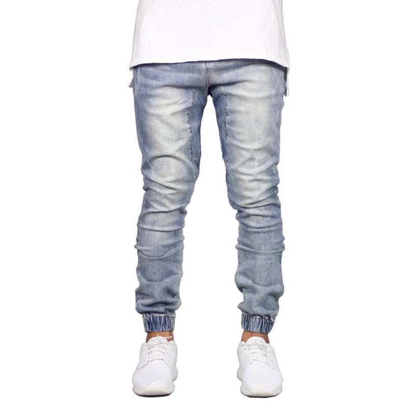 Men's Stretch Denim Joggers Stone - CLOUT COLLECTION