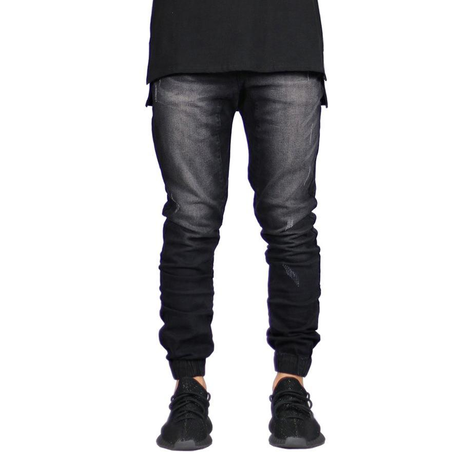 Men's Stretch Denim Joggers Black - Clout Collection High Fashion Streetwear Men's and Women's