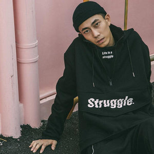 Struggle Half Zip Hoodie - CLOUT COLLECTION