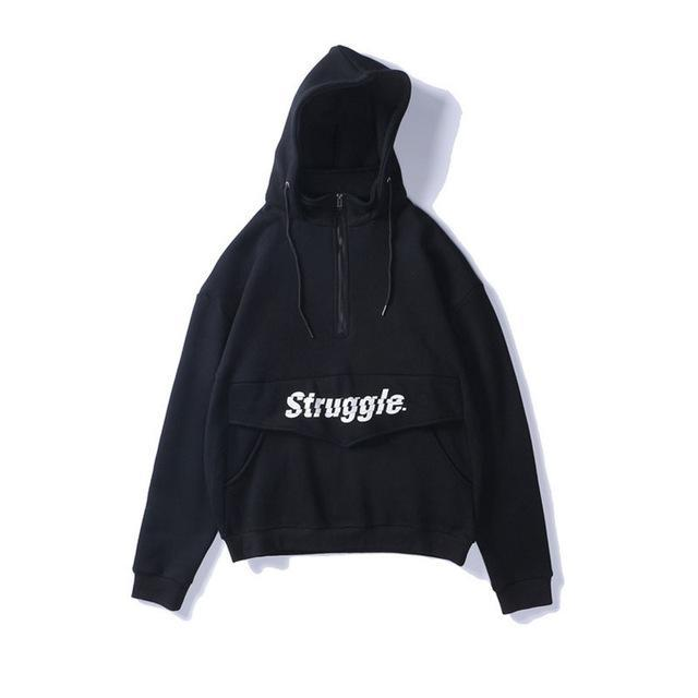Struggle Half Zip Hoodie - Clout Collection High Fashion Streetwear Men's and Women's