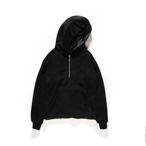 Front Zipper Hooded Sherpa - Clout Collection High Fashion Streetwear Men's and Women's