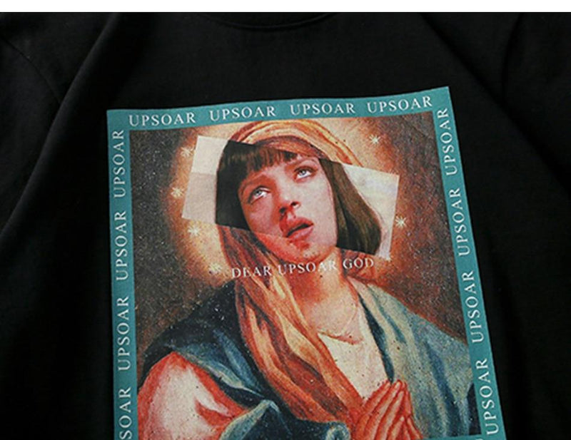 Cotton T-Shirt with Virgin Mary Print - Clout Collection High Fashion Streetwear Men's and Women's