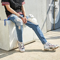 Knee Patched Tapered Jeans with Heavy Distress - Clout Collection High Fashion Streetwear Men's and Women's