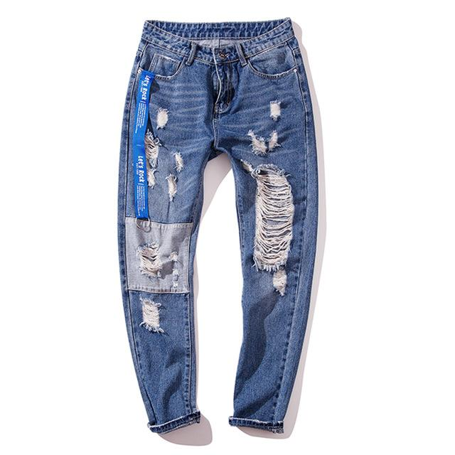 Knee Patched Tapered Jeans with Heavy Distress - CLOUT COLLECTION