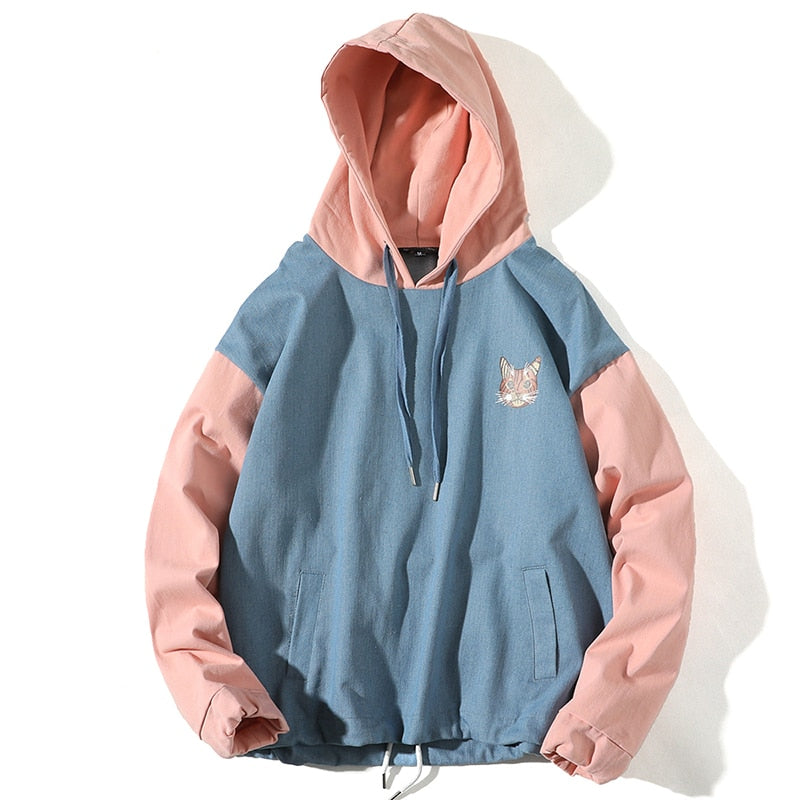 Scaredy-Cat Light Denim Pullover Hoodie - Clout Collection High Fashion Streetwear Men's and Women's