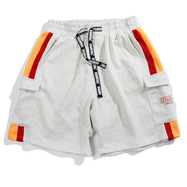 Striped Cargo Sweat Shorts - CLOUT COLLECTION