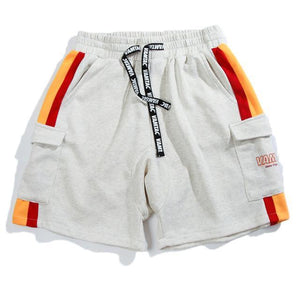 Striped Cargo Sweat Shorts - Clout Collection High Fashion Streetwear Men's and Women's