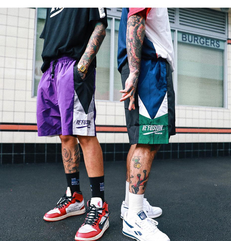 Re'Fusion Track Shorts with Geometric Design - Clout Collection High Fashion Streetwear Men's and Women's