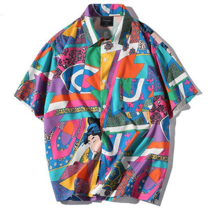 Silk Ukiyo-e Button Down Shirt - Clout Collection High Fashion Streetwear Men's and Women's
