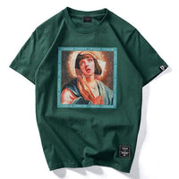 Cotton Tee with Virgin Mary Print - Clout Collection High Fashion Streetwear Men's and Women's