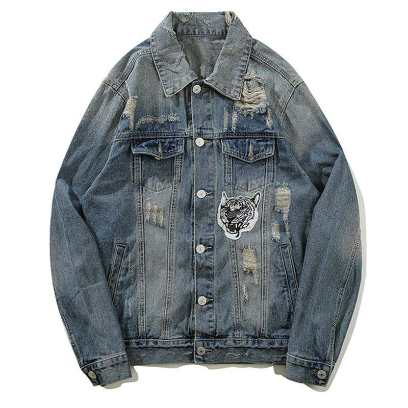 AllSaints Denim Jacket In Blue With Distress - CLOUT COLLECTION