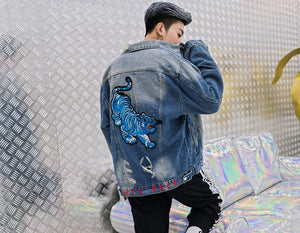 AllSaints Denim Jacket In Blue With Distress - Clout Collection High Fashion Streetwear Men's and Women's