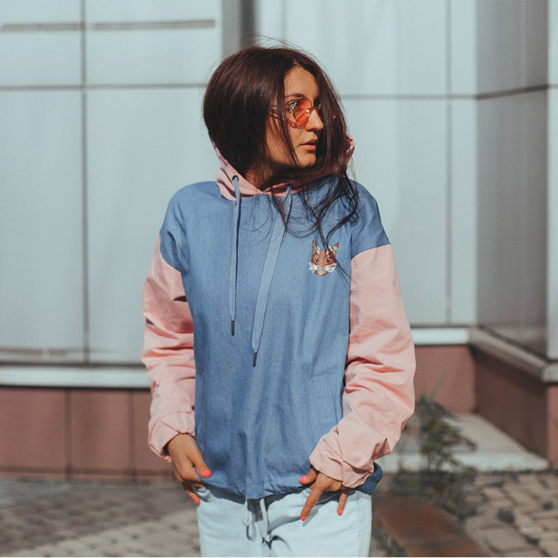 Scaredy-Cat Light Denim Pullover Hoodie - CLOUT COLLECTION