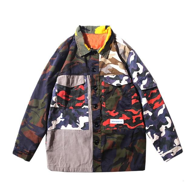 Patchwork Camo Button Up Shirt - Clout Collection High Fashion Streetwear Men's and Women's