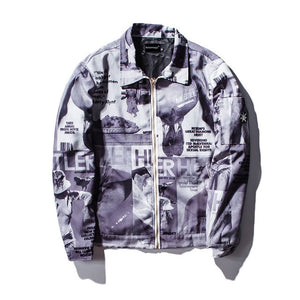 Hustler Printed Denim Jacket - Clout Collection High Fashion Streetwear Men's and Women's