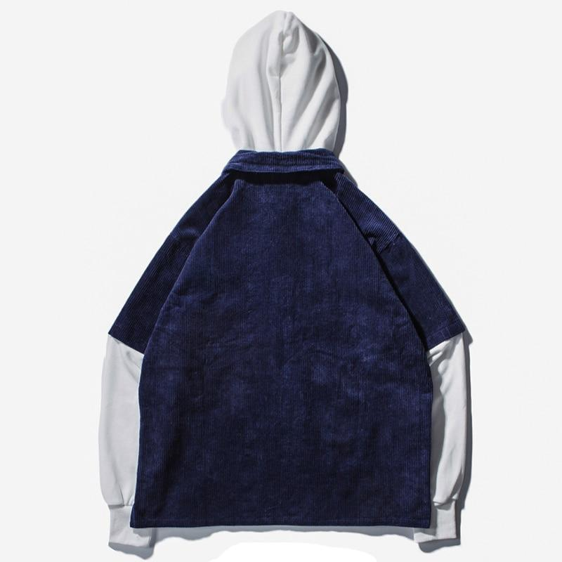 Distressed Fusion Corduroy Hoodie - Clout Collection High Fashion Streetwear Men's and Women's