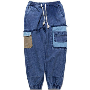 Patchwork Denim Street Joggers - Clout Collection High Fashion Streetwear Men's and Women's