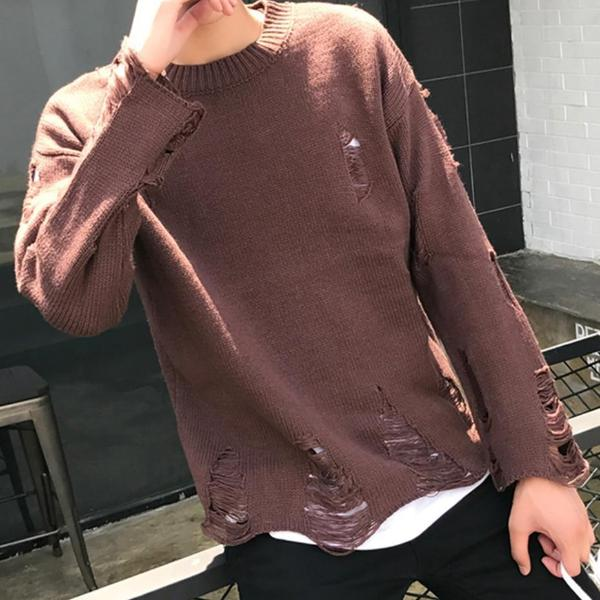 Casual Sweater with Heavy Distress - CLOUT COLLECTION