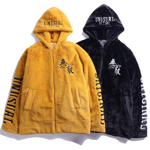 Unusual Original Thermal Fleece Hooded Zip-Up - Clout Collection High Fashion Streetwear Men's and Women's