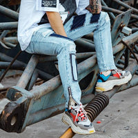 Men's Retro Clout Side Zip Slim Fit Jeans - Clout Collection High Fashion Streetwear Men's and Women's
