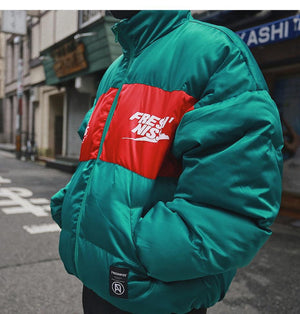 Fresh'Niss Down Puffer with Logo Print - CLOUT COLLECTION