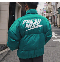 Fresh'Niss Down Puffer with Logo Print - Clout Collection High Fashion Streetwear Men's and Women's