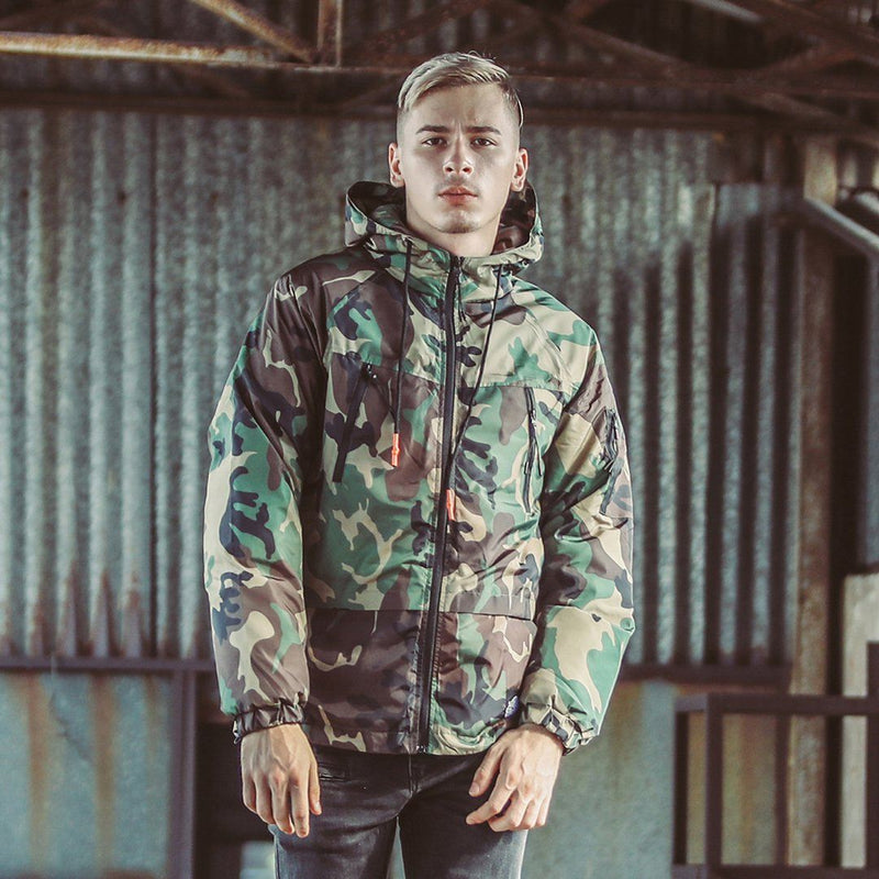 Densely Padded Windbreaker with Camouflage Print - Clout Collection High Fashion Streetwear Men's and Women's