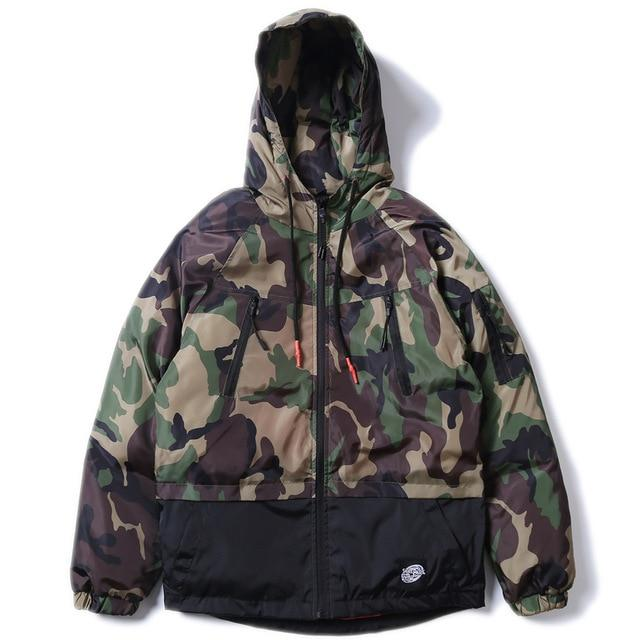 Densely Padded Windbreaker with Camouflage Print - CLOUT COLLECTION