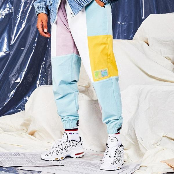 'Macaron' Patchwork Harem Joggers - CLOUT COLLECTION