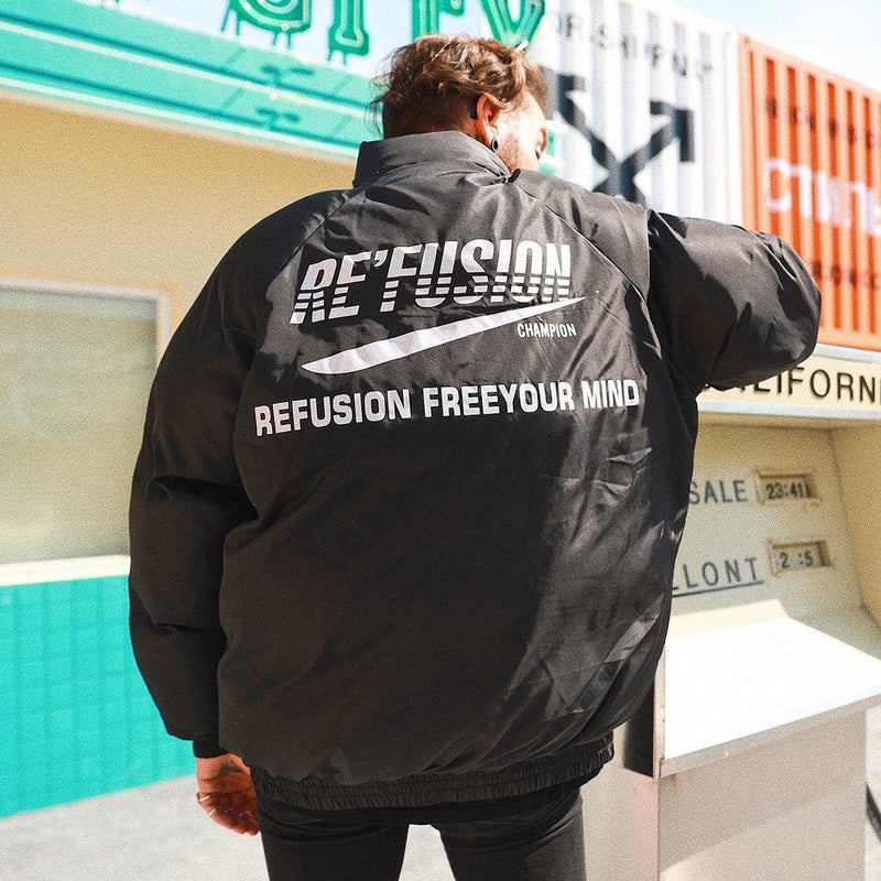 Re'Fusion Down Puffer with Freedom Print - Clout Collection High Fashion Streetwear Men's and Women's