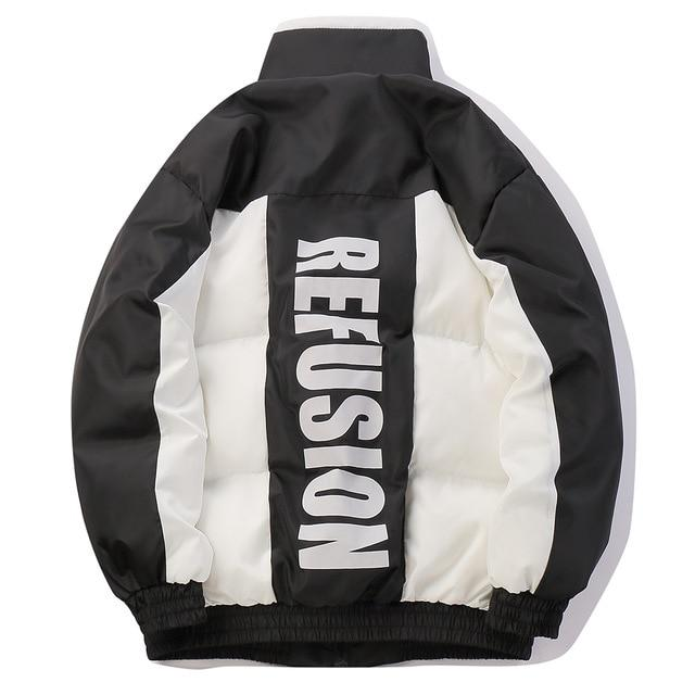 Re'Fusion Down Puffer with Colorblock Design - Clout Collection High Fashion Streetwear Men's and Women's