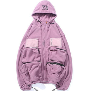 Casual Street Bonded Fleece Cargo Jacket - Clout Collection High Fashion Streetwear Men's and Women's