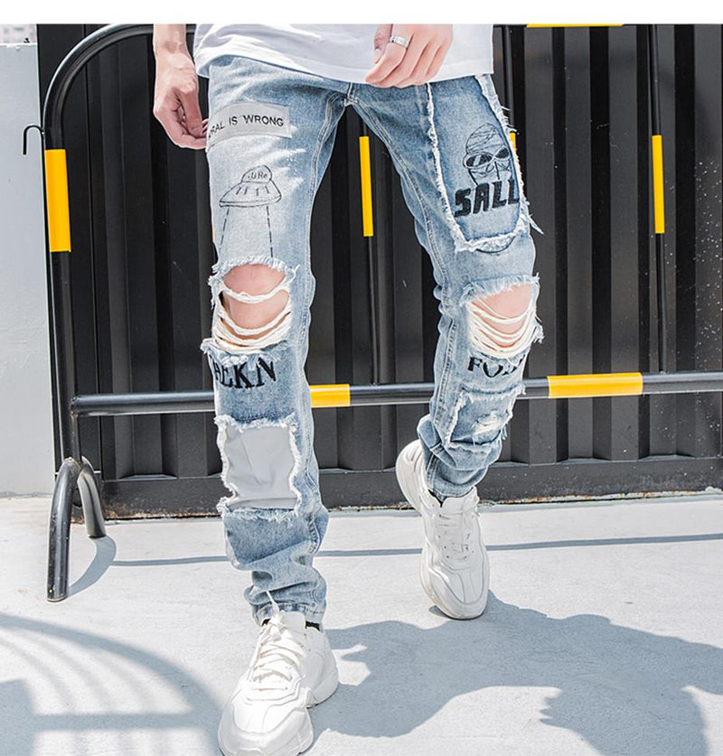 Heavily Distressed Jeans with 3M Reflective Detailing - Clout Collection High Fashion Streetwear Men's and Women's