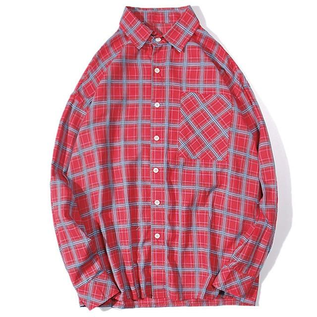 Slim Fit Tartan Check Oxford Shirt - Clout Collection High Fashion Streetwear Men's and Women's