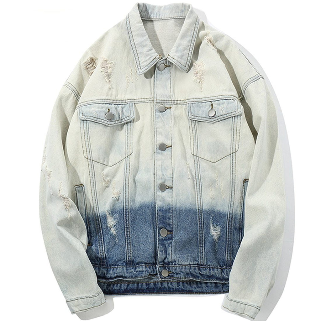 Acid Wash Denim Jacket in Two-Tone - Clout Collection High Fashion Streetwear Men's and Women's