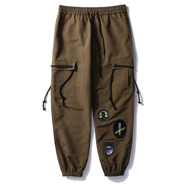 Extreme Aesthetic Solid Cargo Pants With Cuffed Hem - CLOUT COLLECTION