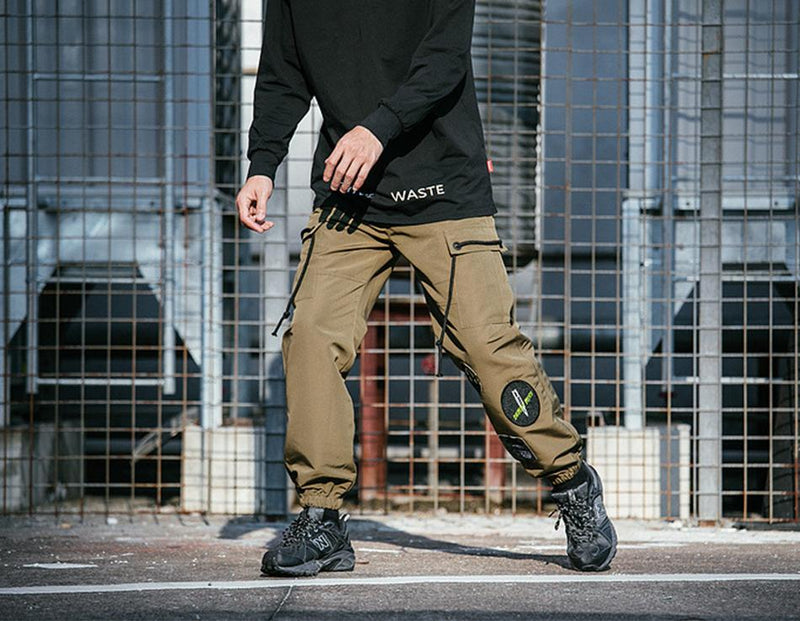 Extreme Aesthetic Solid Cargo Pants With Cuffed Hem - Clout Collection High Fashion Streetwear Men's and Women's