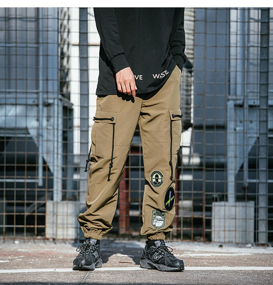 eb51eb5ba4662c Extreme Aesthetic Solid Cargo Pants With Cuffed Hem - Clout Collection High  Fashion Streetwear Men