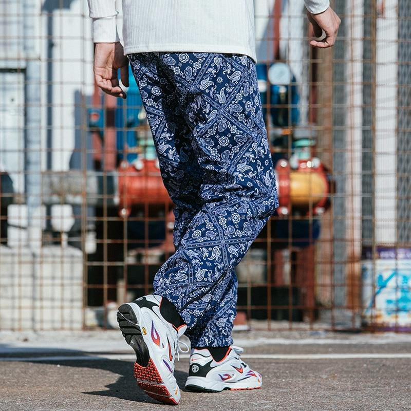 Casual Pants with Retro Bandanna Print - CLOUT COLLECTION