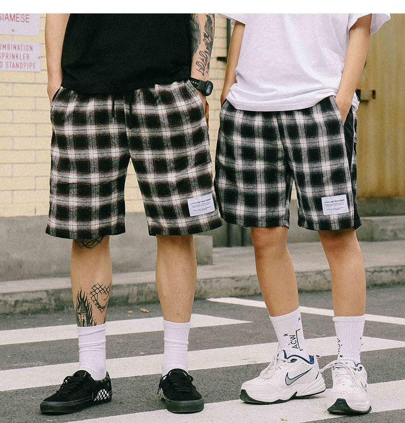Extreme Aesthetic Shorts In Warm Check - Clout Collection High Fashion Streetwear Men's and Women's